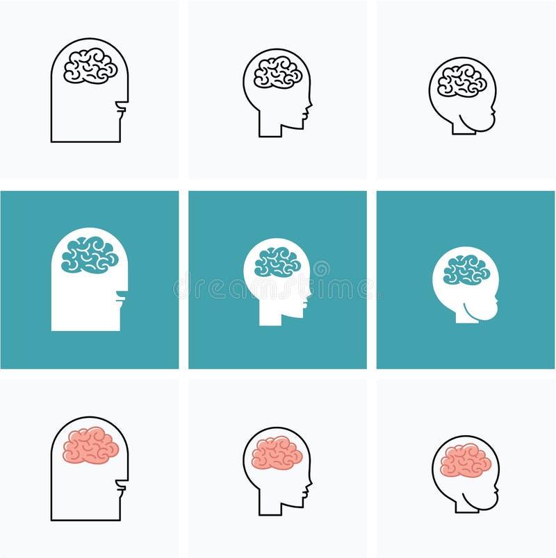 Hoofden van pictogrammen de vectorhersenen van drie mensen stock illustratie