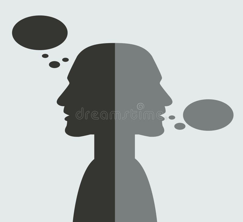 Hoofden vanaf elkaar in mededeling worden gedraaid die stock illustratie
