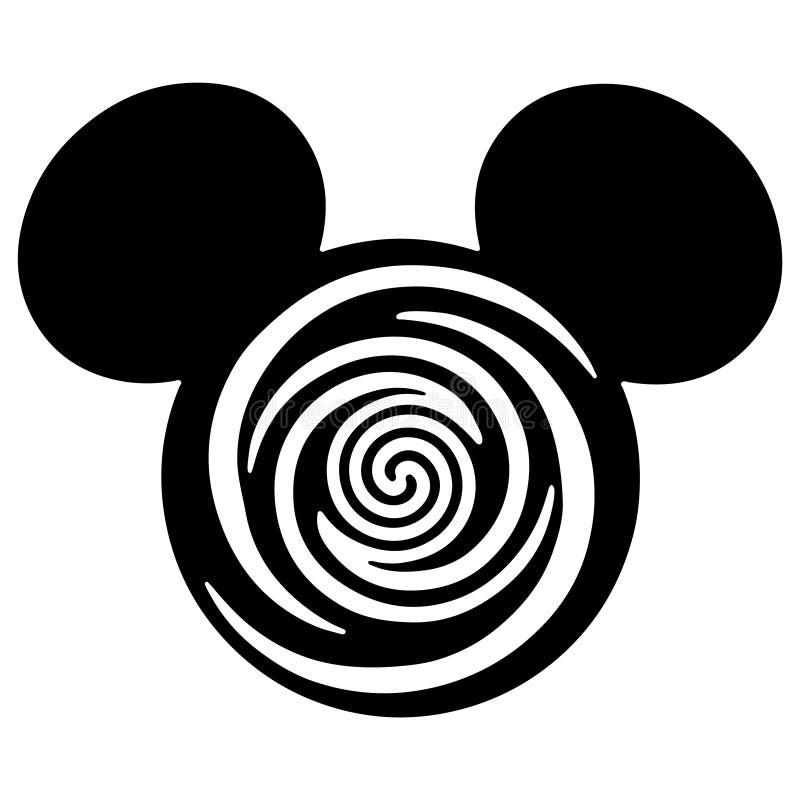 Hoofdeps zwart het silhouet scherp dossier van Mickey Mouse royalty-vrije illustratie