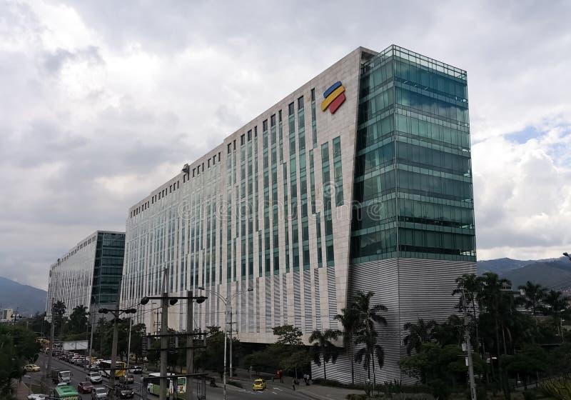 Hoofdgebouw van de Columbiaanse bank Bancolombia in de stad van Medellin stock fotografie