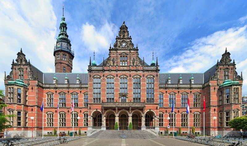 Hoofdgebouw van de Universiteit van Groningen, Nederland royalty-vrije stock foto's