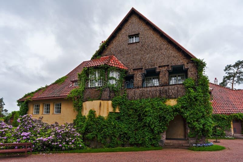 Hoofdgebouw van Hvittrask-manor, Kirkkonummi, Finland stock afbeelding