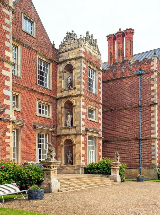 Hoofdingang aan Burton Agnes Hall, Yorkshire, Engeland royalty-vrije stock foto