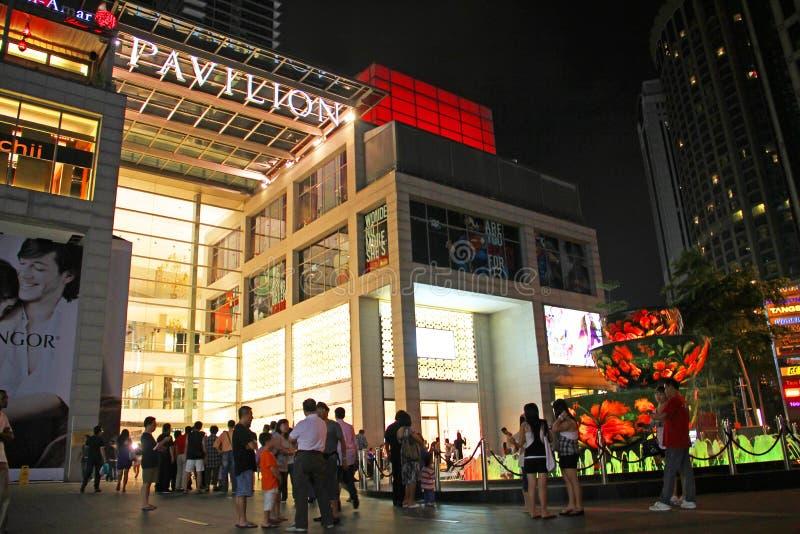 Hoofdingang aan het Paviljoenwinkelcomplex in Kuala Lumpur, Maleisië stock afbeelding