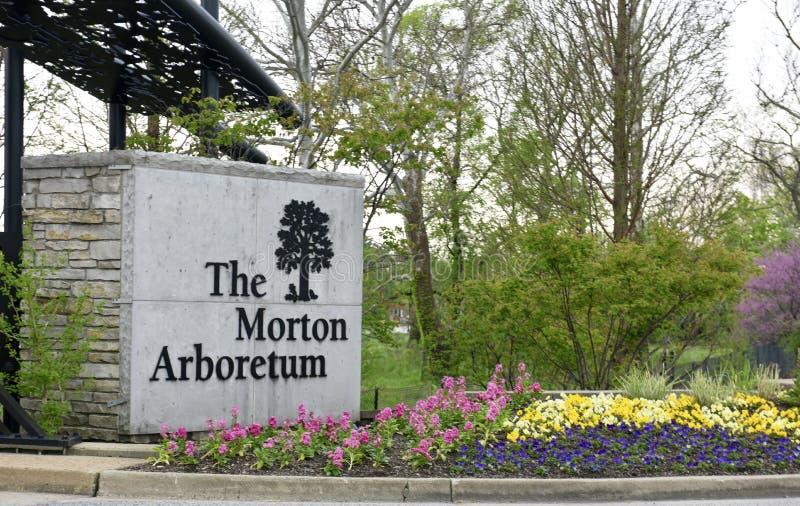 Hoofdingang aan Morton Arboretum stock foto