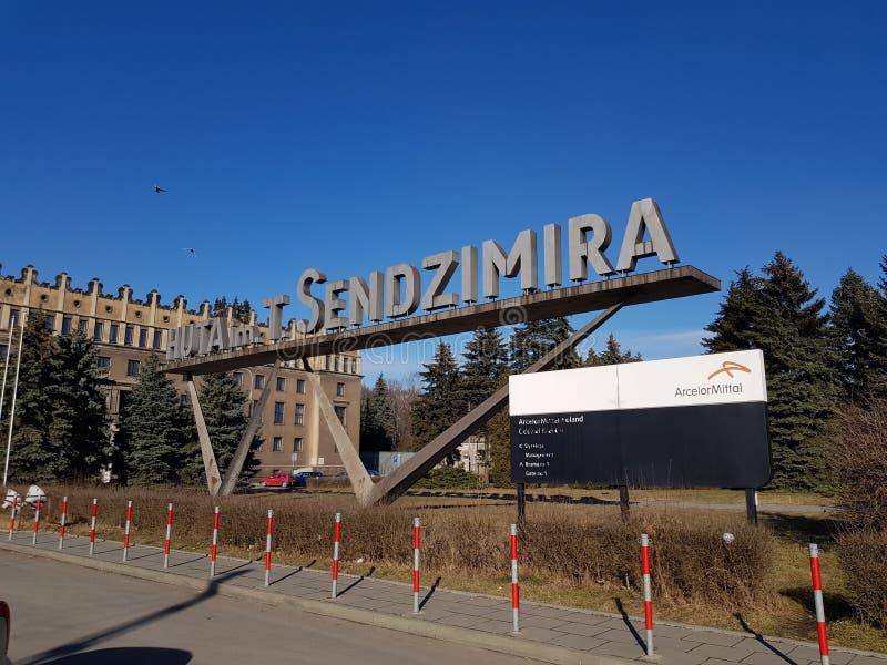 Hoofdingang ArcelorMittal Polen Krakau stock foto's