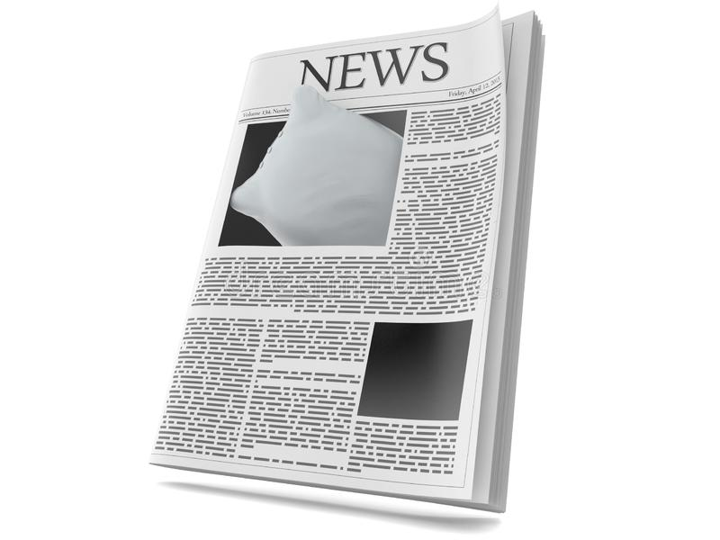 Hoofdkussen binnen krant stock illustratie