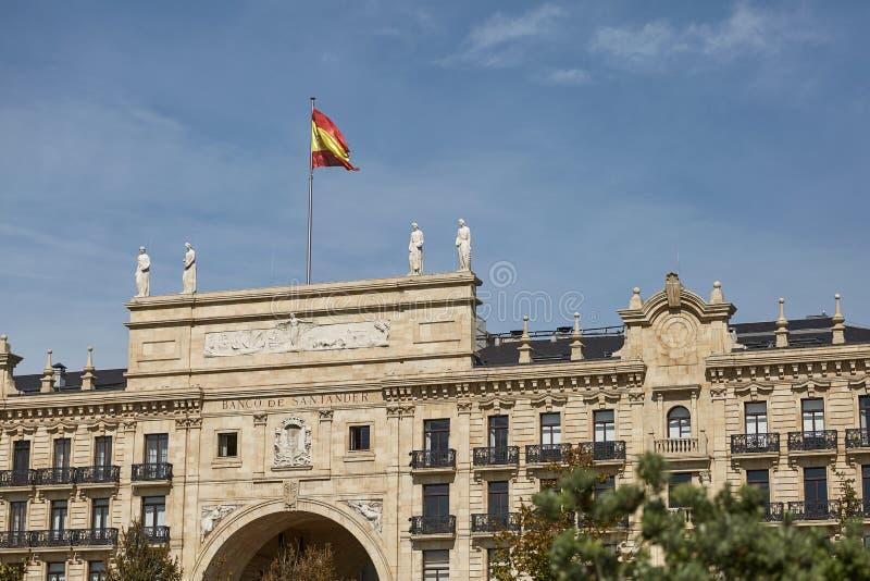 Hoofdkwartier van Banco Santander in Santander, Spanje royalty-vrije stock foto's