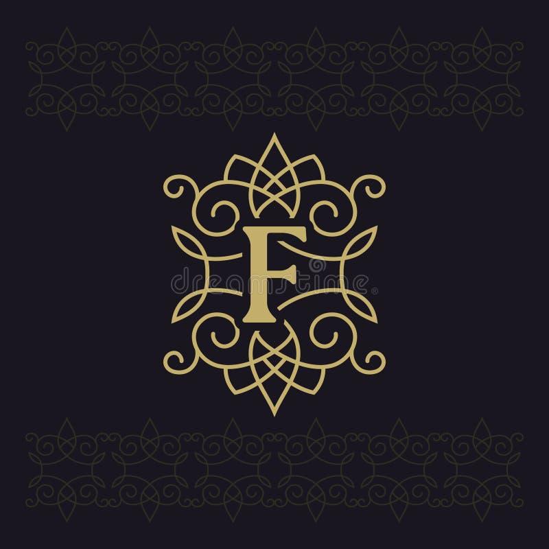 Hoofdletter F Mooi monogram Elegant embleem Kalligrafisch ontwerp Luxeembleem Uitstekend ornament Eenvoudige grafiekstijl vector illustratie
