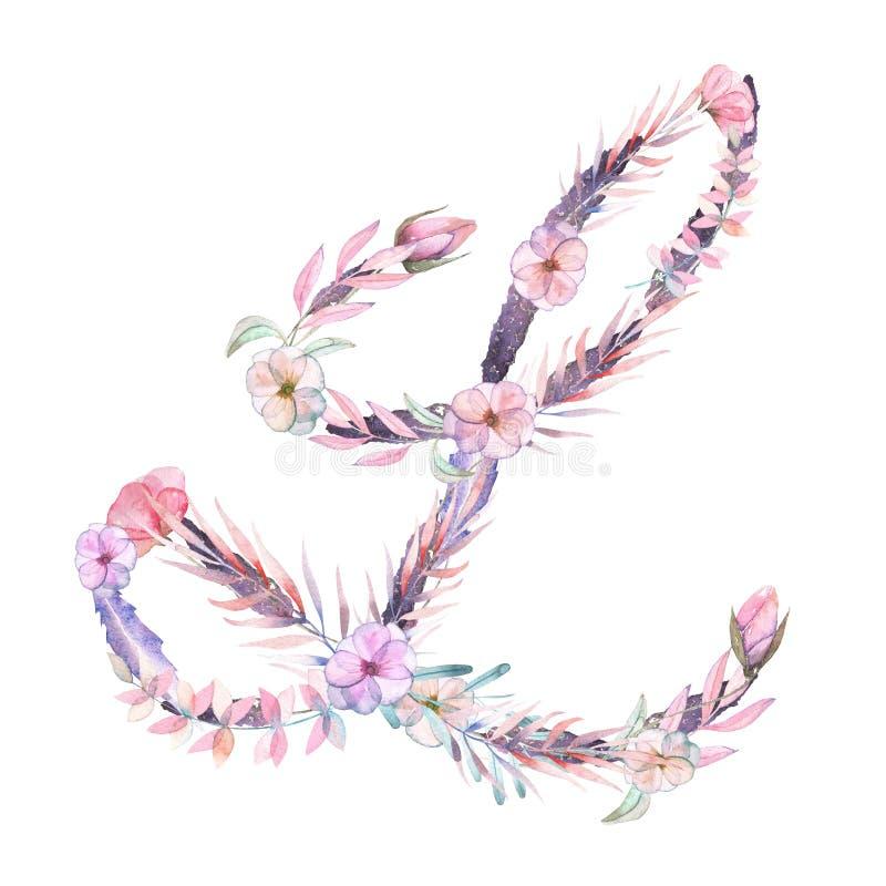 Hoofdletter L van waterverf roze en purpere bloemen stock illustratie