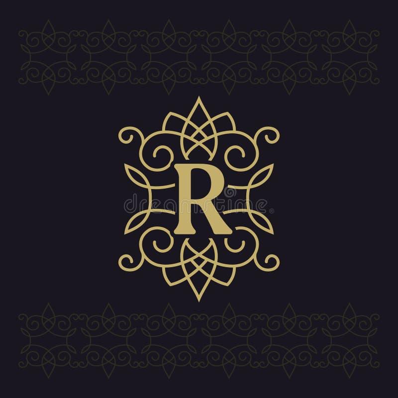 Hoofdletter R Mooi monogram Elegant embleem Kalligrafisch ontwerp Luxeembleem Uitstekend ornament Eenvoudige grafiekstijl royalty-vrije illustratie