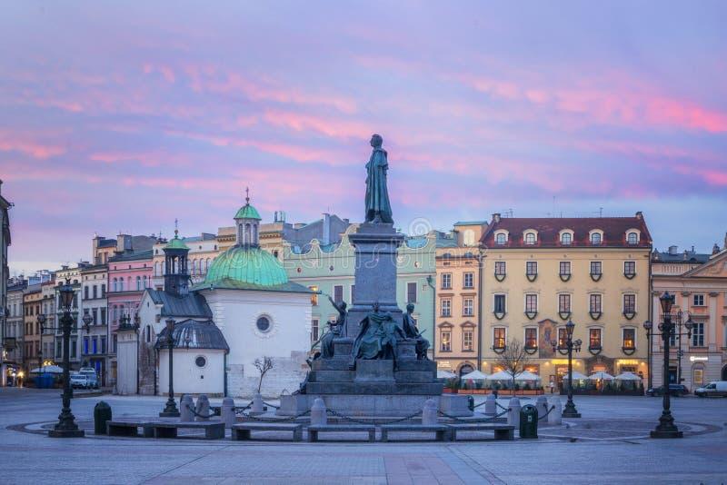 Hoofdmarkt in Krakau, Polen royalty-vrije stock foto