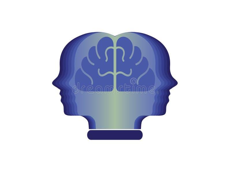 Hoofdpersoon met hersenen in het boek voor de illustratie van het embleemontwerp, onderwijspictogram, het symbool van het menings stock illustratie