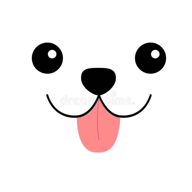 Hoofdpictogram van het hond het gelukkige vierkante gezicht Roze tong uit Het silhouet van de contourlijn Het leuke karakter van  vector illustratie