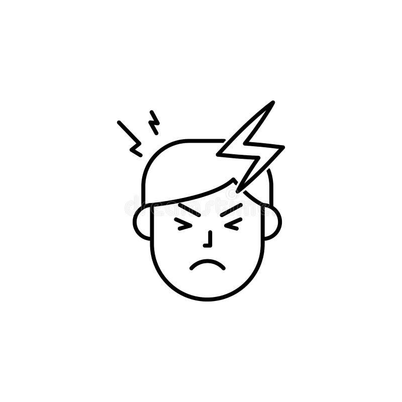 Hoofdpijn, pijn, allergisch pictogram Element van problemen met allergieënpictogram Dun lijnpictogram voor websiteontwerp en ontw vector illustratie
