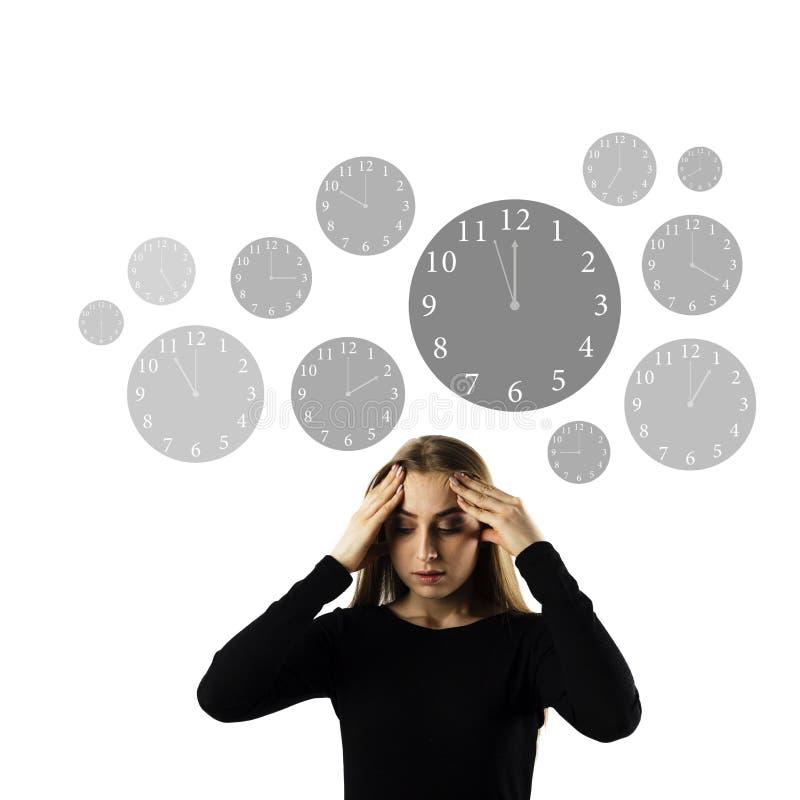 Hoofdpijn Tijd en spoed het werkconcept stock afbeelding