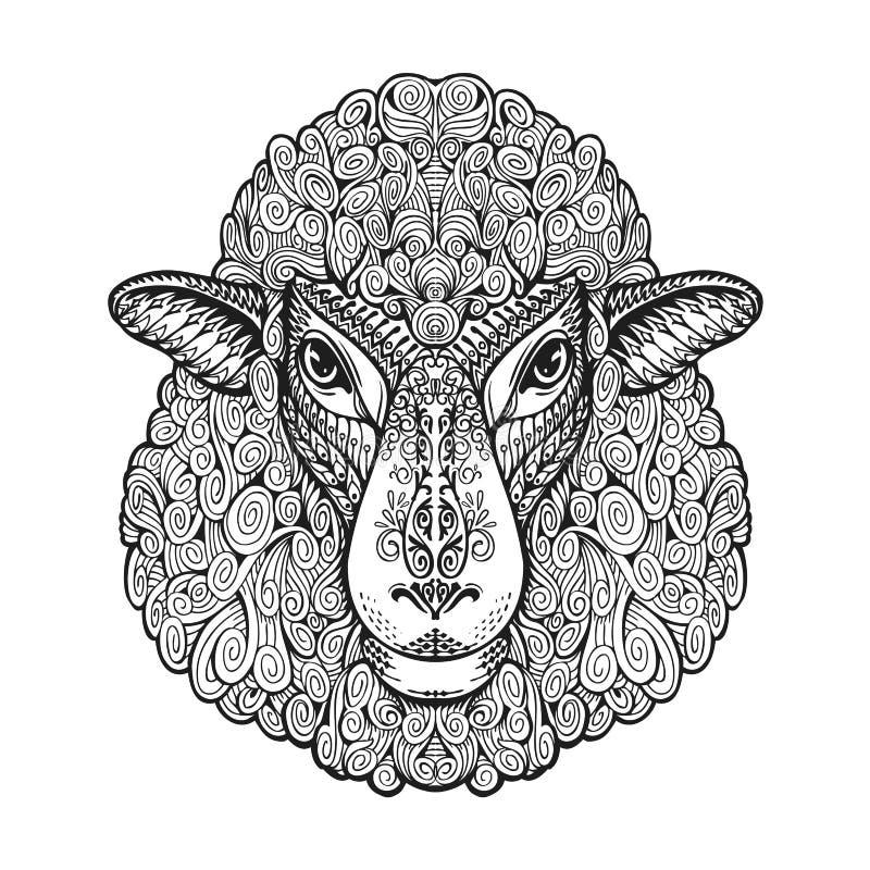 Hoofdschapen Etnische patronen Hand getrokken vectorillustratie met bloemenelementen Lam, dierlijk symbool vector illustratie