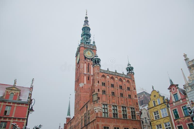Hoofdstadhuis en Dlugi Targ-plein in het Oude stadscentrum van Gdansk, Polen royalty-vrije stock foto