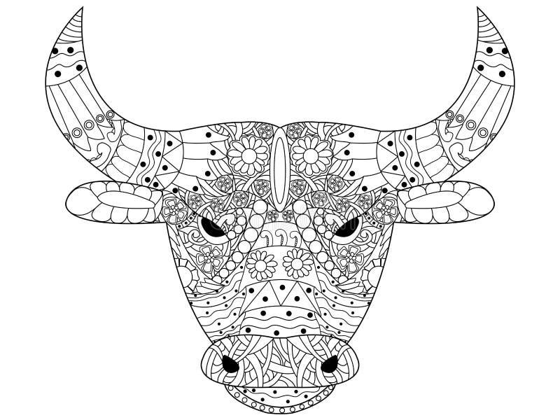 Hoofdstier het kleuren vector voor volwassenen royalty-vrije illustratie