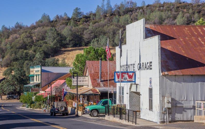 Hoofdstraat in Coulterville, Californië stock foto's