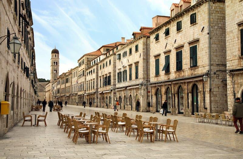 Hoofdstraat in Oude Stad in Dubrovnik, Kroatië royalty-vrije stock fotografie