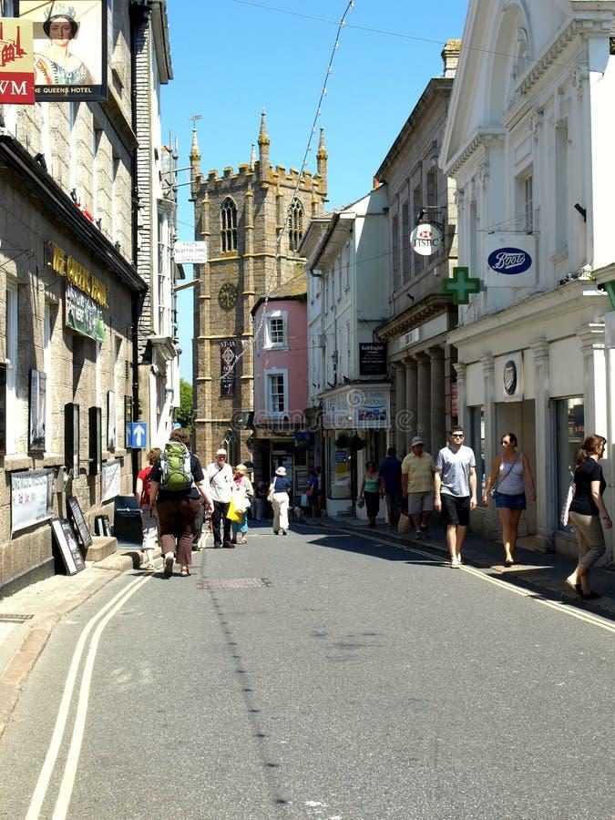 Hoofdstraat, St. Ives, Cornwall. stock foto