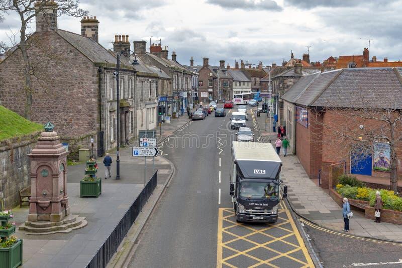Hoofdstraat in stadscentrum van berwick-op-Tweed, northernmost stad in Northumberland bij de mond van Riviertweed in Engeland, he royalty-vrije stock fotografie