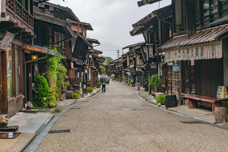 Hoofdstraat van de narai-Juku de poststad met traditionele Japanse woode stock afbeelding