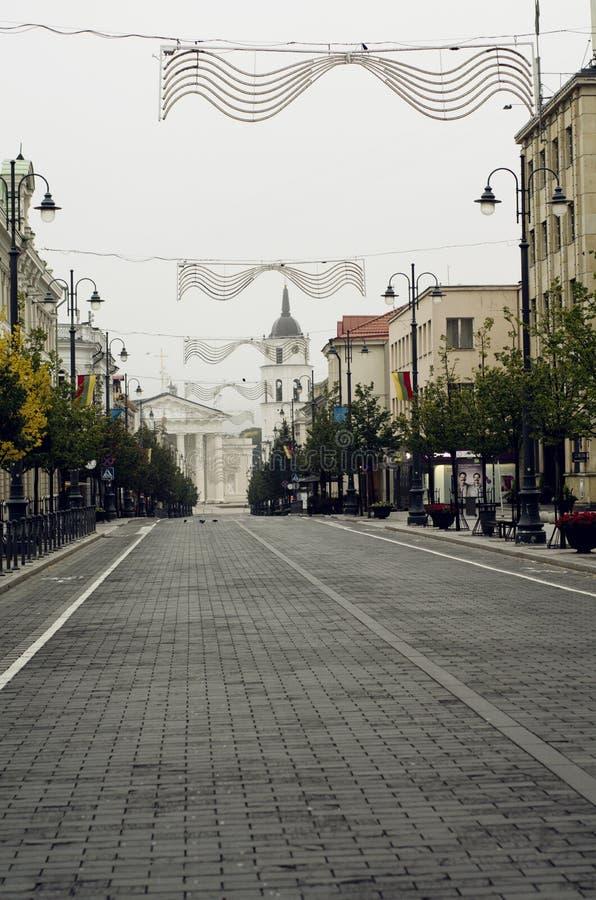 Hoofdstraat van Vilnius stock afbeeldingen