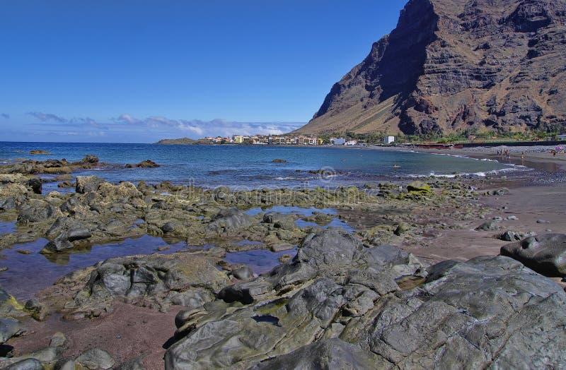 Hoofdstrand van Valle Gran Rey, het eiland van La Gomera royalty-vrije stock fotografie