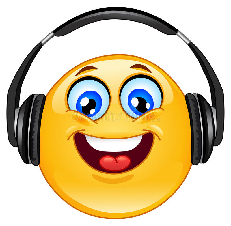 Hoofdtelefoon emoticon stock illustratie