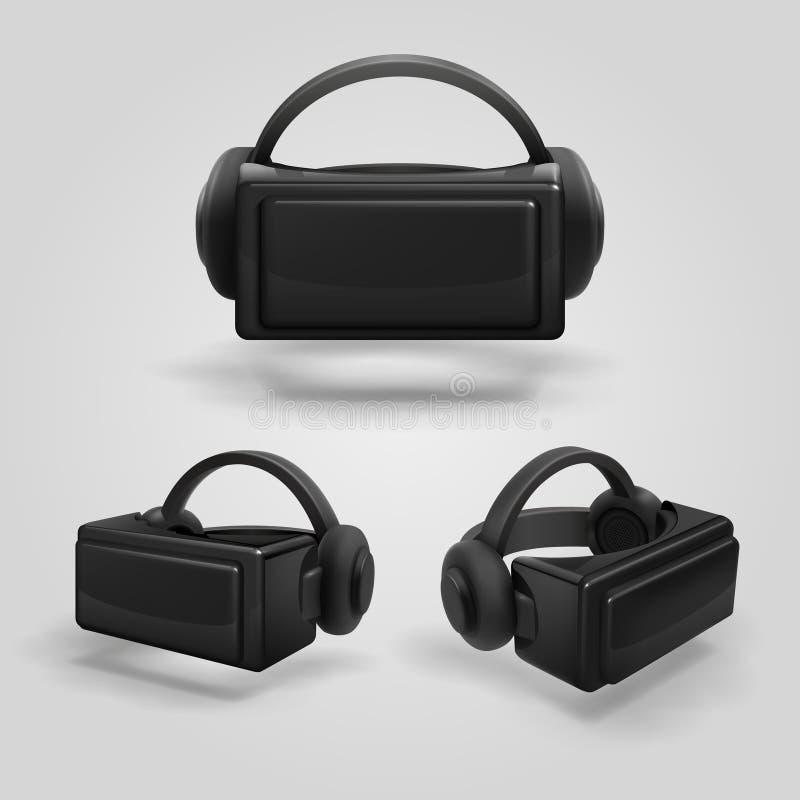 Hoofdtelefoon en stereoscopische virtuele werkelijkheidsbeschermende brillen Realistische van vrglazen en hoofdtelefoons vectoril stock illustratie