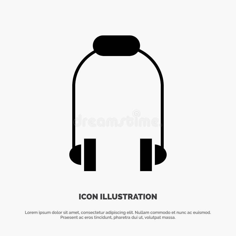 Hoofdtelefoon, Oortelefoon, Telefoon, het Pictogramvector van Muziek stevige Glyph vector illustratie