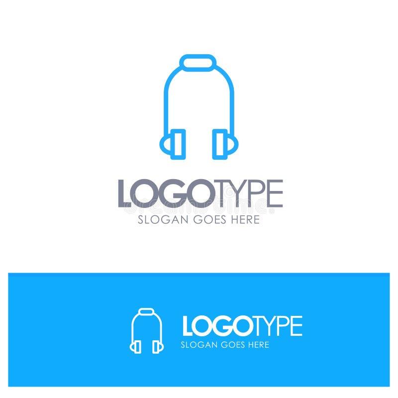 Hoofdtelefoon, Oortelefoon, Telefoon, Muziek Blauw Overzicht Logo Place voor Tagline stock illustratie