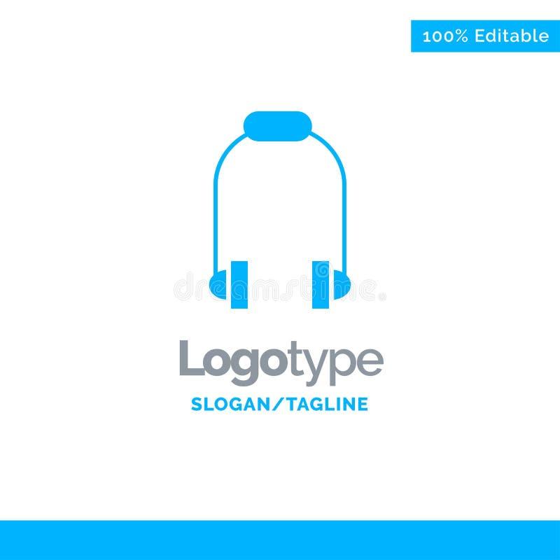 Hoofdtelefoon, Oortelefoon, Telefoon, Muziek Blauw Stevig Logo Template Plaats voor Tagline vector illustratie