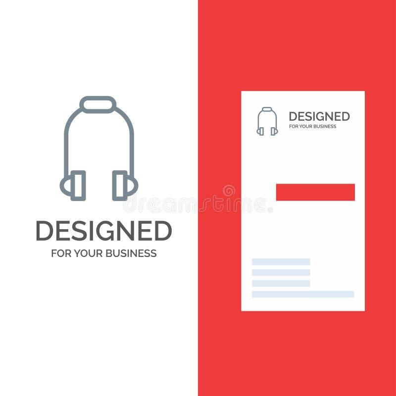 Hoofdtelefoon, Oortelefoon, Telefoon, Muziek Grey Logo Design en Visitekaartjemalplaatje royalty-vrije illustratie