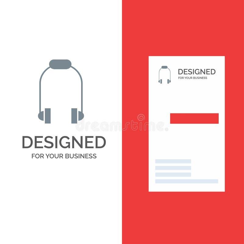 Hoofdtelefoon, Oortelefoon, Telefoon, Muziek Grey Logo Design en Visitekaartjemalplaatje stock illustratie
