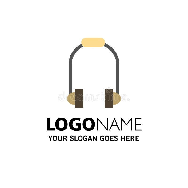 Hoofdtelefoon, Oortelefoon, Telefoon, Muziekzaken Logo Template vlakke kleur royalty-vrije illustratie
