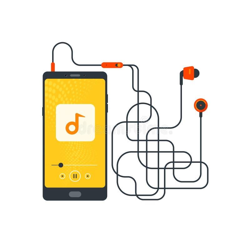 Hoofdtelefoons, de Mobiel met verward hoofdtelefoonkoord, die aan muziek, Muziekspeler, Earbuds, Oortelefoon luisteren, verbonden vector illustratie