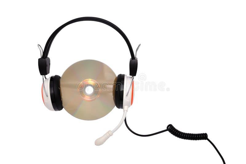 Hoofdtelefoons en CD stock fotografie