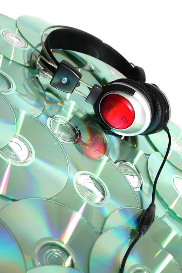 Hoofdtelefoons en CD royalty-vrije stock fotografie