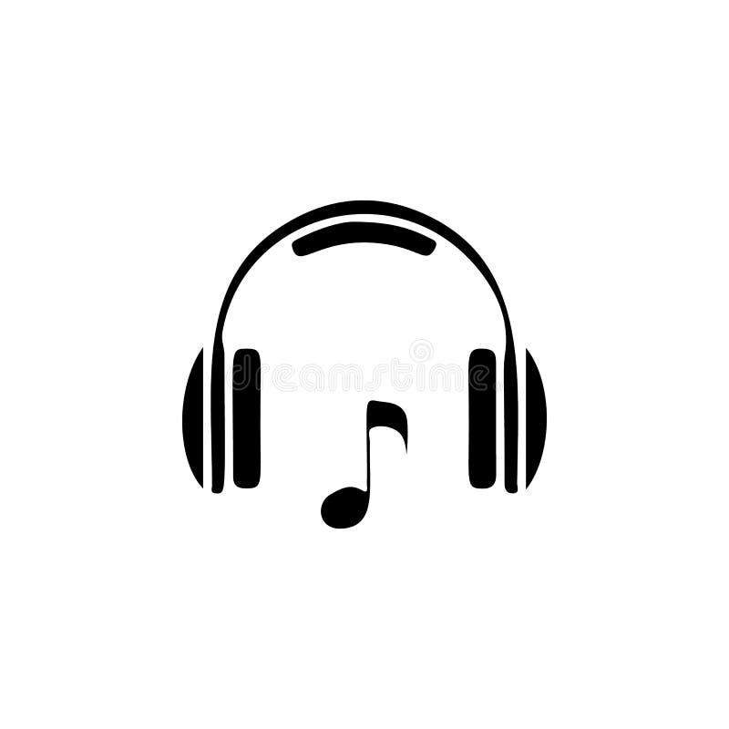 Hoofdtelefoons en muzieknootpictogram Het pictogram van de nachtclub Element van plaats van vermaakpictogram Het grafische ontwer royalty-vrije illustratie