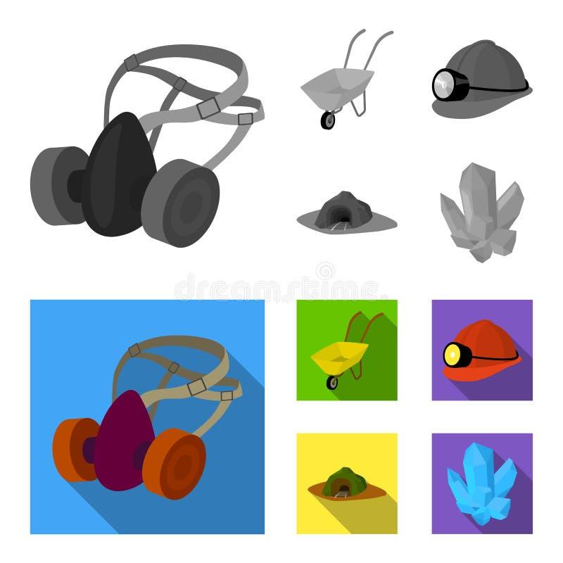 Hoofdtelefoons en raspirator, kruiwagen, helm met een lantaarn, de ingang aan de mijn Mijnbouw vastgestelde inzameling royalty-vrije illustratie
