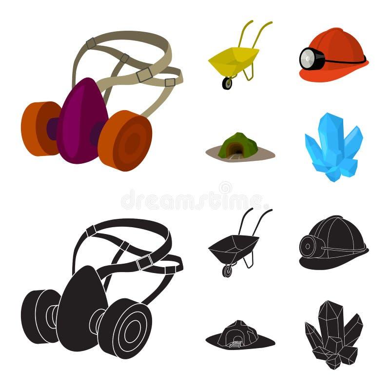 Hoofdtelefoons en raspirator, kruiwagen, helm met een lantaarn, de ingang aan de mijn Mijnbouw vastgestelde inzameling vector illustratie