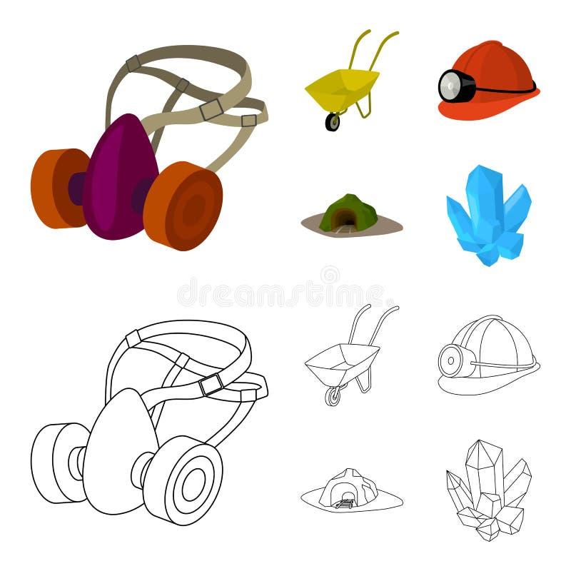 Hoofdtelefoons en raspirator, kruiwagen, helm met een lantaarn, de ingang aan de mijn Mijnbouw vastgestelde inzameling stock illustratie