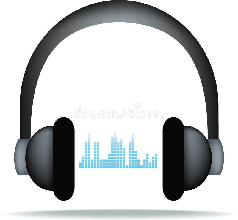 Hoofdtelefoons en soundwaves royalty-vrije illustratie