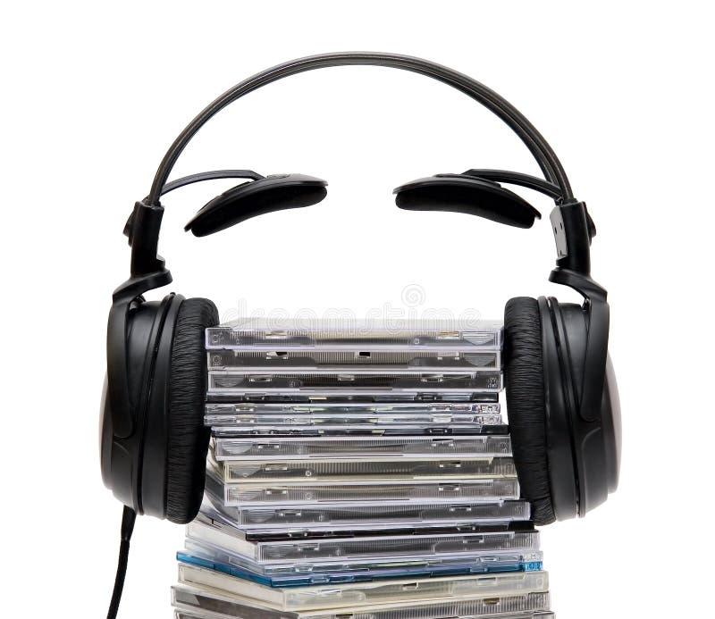 Hoofdtelefoons met CD stock foto's