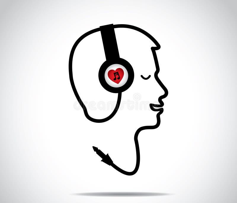 Hoofdtelefoons met het symbool van de liefdemuziek en zijn snaar die in de vorm van een jonge mens wordt gevormd die luisteren aan stock illustratie