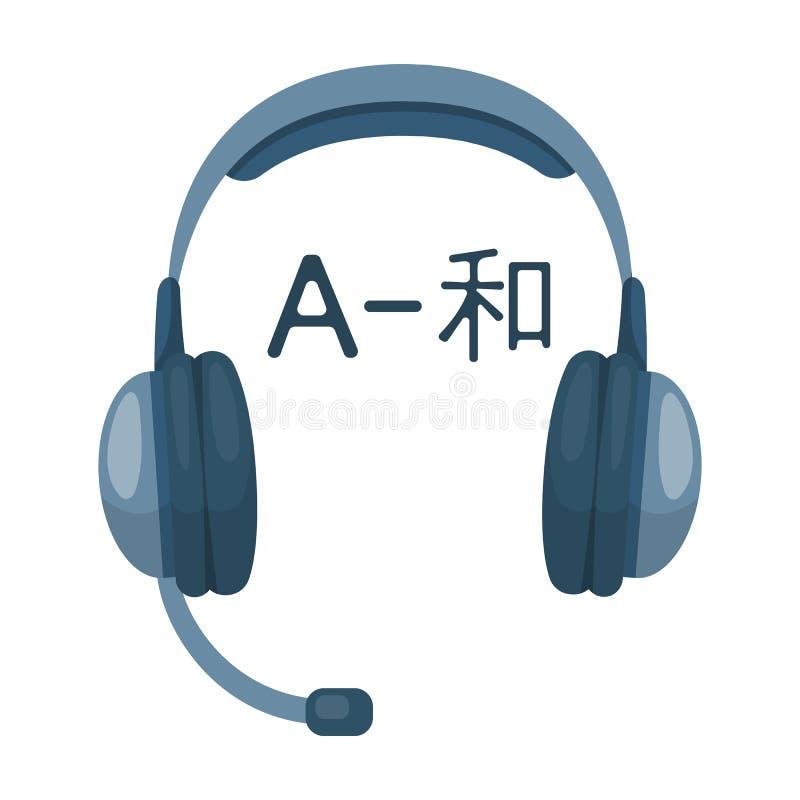 Hoofdtelefoons met vertalerspictogram in beeldverhaalstijl op witte achtergrond wordt geïsoleerd die vector illustratie