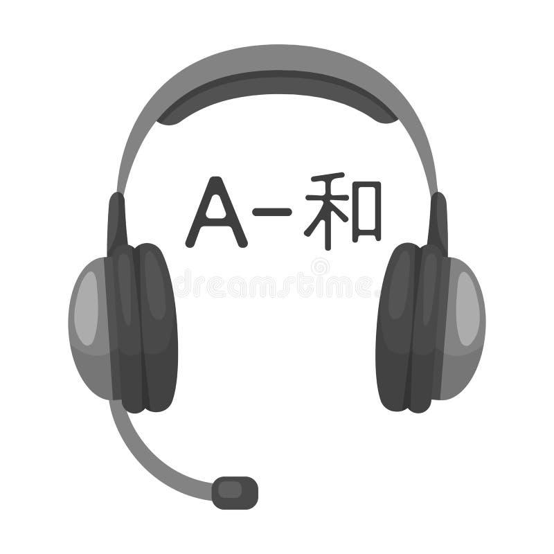 Hoofdtelefoons met vertalerspictogram in zwart-wit die stijl op witte achtergrond wordt geïsoleerd vector illustratie